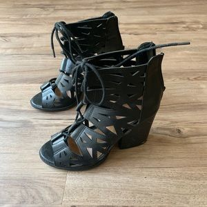 Black strappy open toe booties